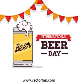 international beer day, august, beer can with garlands hanging