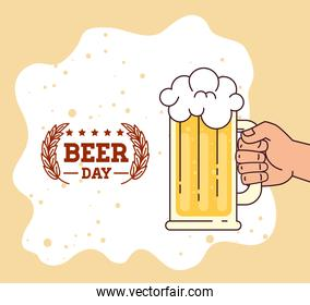 international beer day, august, hand with beer mug