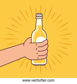 hand holding a beer bottle, on yellow background