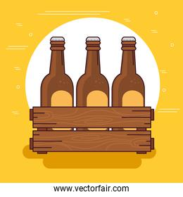 beers set in the wooden box, on yellow background