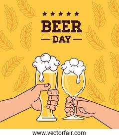 international beer day, august, hands cheers beers