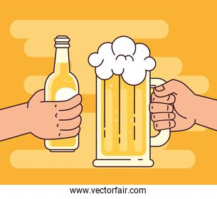 hands holding beers in glass mug and bottle, on yellow background