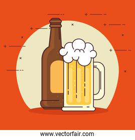 beers in bottle and mug glass on red background