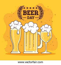 international beer day, august, glasses of beers