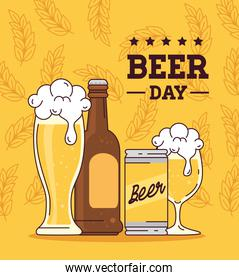 international beer day, august, bottle, can, cup and glass of beer