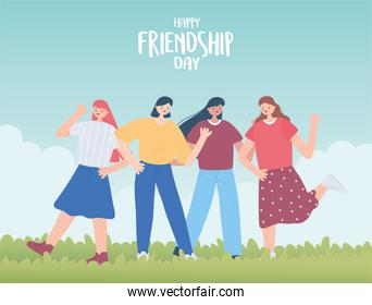 happy friendship day, young group women unity relationship special event celebration