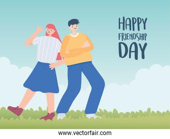 happy friendship day, boy and girl celebrating outdoors, special event celebration