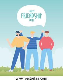 happy friendship day, men and woman cartoon character special event celebration