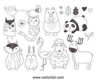 cute animals sketch wildlife cartoon adorable sheep panda deer bear rabbit owl flamingo bird bee