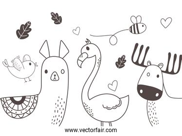 cute animals sketch wildlife cartoon adorable alpaca bird bee flamingo and reindeer