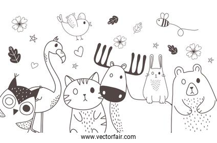 cute animals sketch wildlife cartoon adorable flamingo bear cat owl deer bee and bird