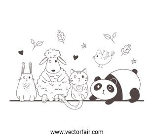 cute animals sketch wildlife cartoon adorable panda sheep rabbit cat and bird