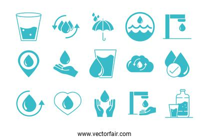 water drops nature liquid save environment, drink, blue silhouette style icons set