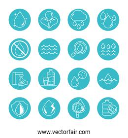 water drops nature liquid save environment, drink, blue block style icons set