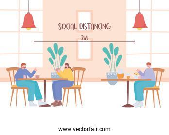 restaurant social distancing, visitors tables are located at a safe distance,  covid 19  pandemic, prevention of coronavirus infection