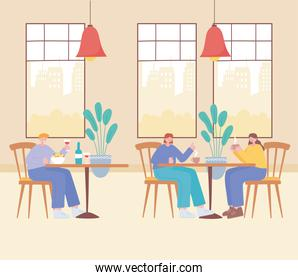restaurant social distancing, women and a man sit a distance apart in tables,  covid 19  pandemic, prevention of coronavirus infection