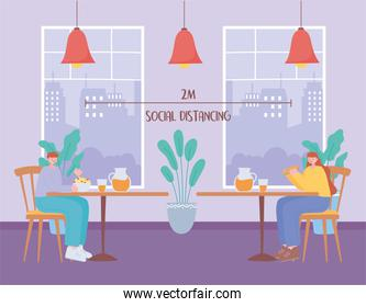 restaurant social distancing, man and woman having lunch in separate table,  covid 19  pandemic, prevention of coronavirus infection