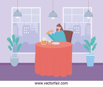 restaurant social distancing, woman sitting in restaurant eating alone,  covid 19  pandemic, prevention of coronavirus infection