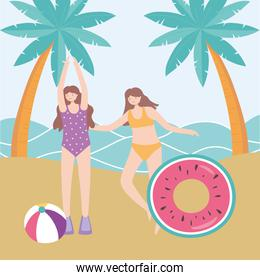 summer time beach women with float ball and palms vacation tourism