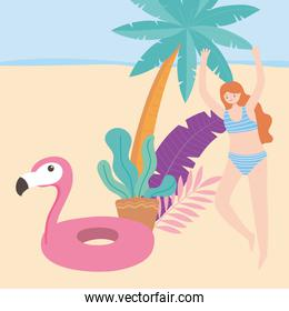 summer time beach vacation tourism girl with flamingo float and palm tree foliage
