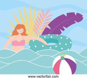 summer time girl with float in sea with ball beach vacation tourism