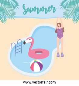 summer time girl with pool flamingo float and ball vacation tourism