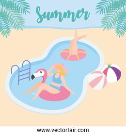 summer time women in pool with balls and flamingo float vacation tourism