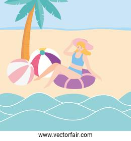 summer time girl with hat float and balls in beach vacation tourist