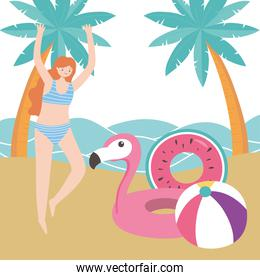 summer time woman with flamingo float ball palm trees sea beach vacation tourism
