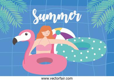 summer time girl with floats and ball vacation tourism pool background