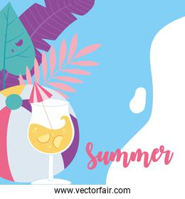 summer time vacation tourism ball cocktail with umbrella and leaves background