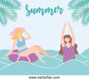 summer time girls in sea with float beach vacation tourism