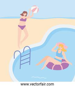 summer time girls with beach ball and float in pool vacation tourism