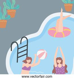 summer time happy women in pool with ball and ring floats vacation tourism