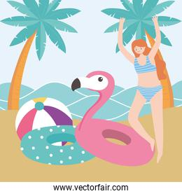summer time happy woman with floats and ball sand beach vacation tourism