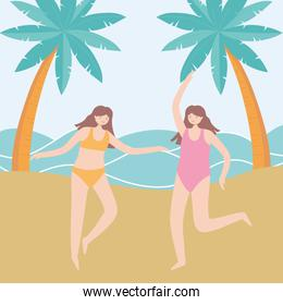 summer time vacation tourism happy girls in the beach