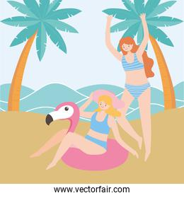 summer time vacation tourism young women with flamingo float in the beach