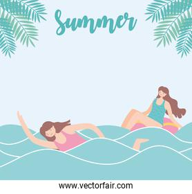 summer time beach vacation tourism girl swimming in the sea and woman in float