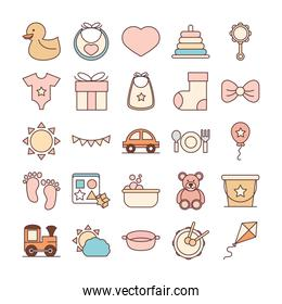 baby feeding toys and clothes, welcome newborn icons set line and fill design
