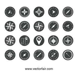 compass rose navigation cartography travel explore equipment icons set silhouette design icon