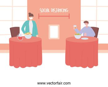 restaurant social distancing, people eating distance from each other to prevent from disease outbreak, covid 19 pandemic