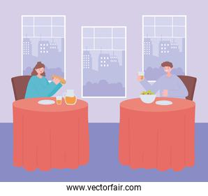 restaurant social distancing, people eating food alone at tables, covid 19 pandemic, prevention of coronavirus infection