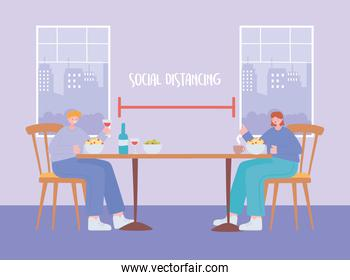 restaurant social distancing, new normal lifestyle physical in eating time, covid 19 pandemic, prevention of coronavirus infection
