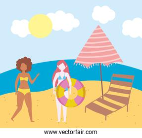 summer people activities, girls with float deck chair and umbrella beach, seashore relaxing and performing leisure outdoor