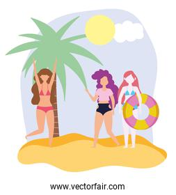 summer people activities, happy girls with float palm beach, seashore relaxing and performing leisure outdoor