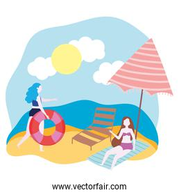 summer people activities, woman with flaot and girl resting on towel, seashore relaxing and performing leisure outdoor