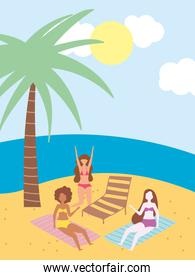 summer people activities, funny girls in the beach with chair and towel, seashore relaxing and performing leisure outdoor