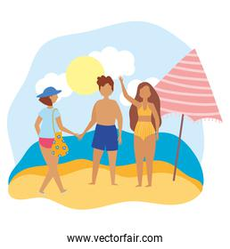 summer people activities, man and women with umbrella in the beach, seashore relaxing and performing leisure outdoor