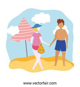 summer people activities, couple with swimsuit on the beach, seashore relaxing and performing leisure outdoor