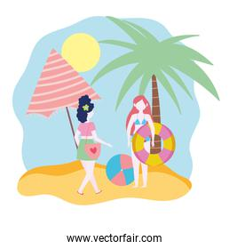 summer people activities, woman and girl with ball umbrella and float, seashore relaxing and performing leisure outdoor